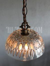 画像1: FRANCE製プレスガラスシェード1灯ミニペンダントランプ大/アンティーク吊下照明