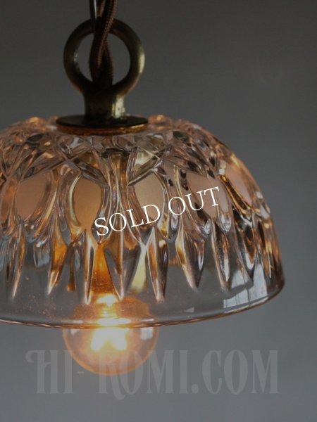 画像1: FRANCE製プレスガラスシェード1灯ミニペンダントランプ小/アンティーク吊下照明 (1)