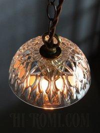画像2: FRANCE製プレスガラスシェード1灯ミニペンダントランプ大/アンティーク吊下照明
