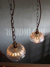 画像3: FRANCE製プレスガラスシェード1灯ミニペンダントランプ大/アンティーク吊下照明
