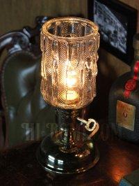 画像1: USAヴィンテージアイスグラスシェード&鍵スイッチ付きテーブルランプA/アンティークミッドセンチュリー照明卓上ランプ