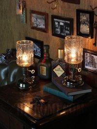画像2: USAヴィンテージアイスグラスシェード&鍵スイッチ付きテーブルランプA/アンティークミッドセンチュリー照明卓上ランプ