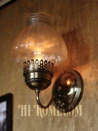 画像3: ヴィンテージコロニアルくもりガラスチムニーシェードのブラケットランプ/火屋ハリケーンヴィクトリアン壁照明
