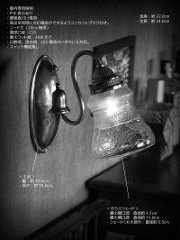 画像1: ヴィンテージコロニアル葡萄柄ガラスシェードのブラケットランプ/ヴィクトリアン壁照明
