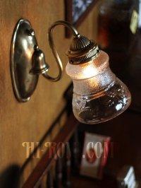画像2: ヴィンテージコロニアル葡萄柄ガラスシェードのブラケットランプ/ヴィクトリアン壁照明