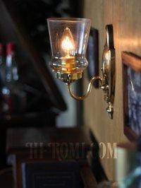 画像3: ヴィンテージコロニアルクリアガラスチムニーシェードブラケットランプ/ヴィクトリアンハリケーン壁照明
