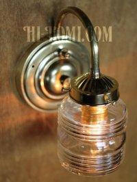 画像2: ヴィンテージコロニアルクリアガラスビーハイブシェード真鍮ブラケットランプ/ヴィクトリアン壁照明