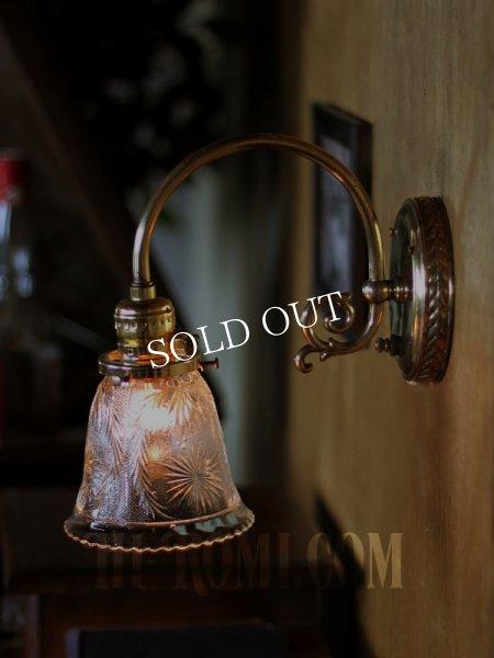 画像1: ヴィンテージコロニアルクリアガラス草花柄カットシェードブラケットランプ/ヴィクトリアン壁照明 (1)