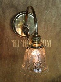 画像2: ヴィンテージコロニアルクリアガラス草花柄カットシェードブラケットランプ/ヴィクトリアン壁照明