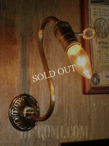 画像1: LEVITON社製真鍮ソケット付コロニアルスワンネックブラケットランプA/アメリカンヴィクトリアンランプ壁掛照明ウォールライト (1)
