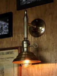 画像2: USAヴィンテージ鍵スイッチ付ソケット&ビーハイブ型シェード真鍮ブラケットA/コロニアル照明壁掛けランプ