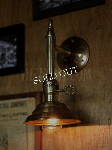画像1: USAヴィンテージ鍵スイッチ付ソケット&ビーハイブ型シェード真鍮ブラケットA/コロニアル照明壁掛けランプ (1)
