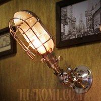 画像1: USAヴィンテージバルブ角度調整ワイヤーケージ付工業系ブラケット/アンティーク工業系インダストリアル壁面照明ランプ