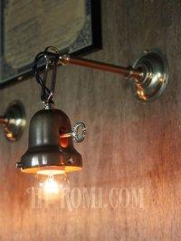 画像2: 鍵型スイッチ&チェーン付ベル型シェードホルダー真鍮ブラケットA/ヴィクトリアンウォールランプ/コロニアル壁掛け照明/工業系インダストリアル