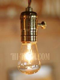 画像1: 【60cmコード】真鍮製ターンスイッチ付LEVITON社真鍮ソケットペンダントライト