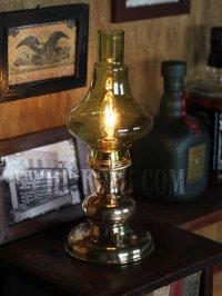 画像1: USAヴィンテージコロニアルイエローグリーンガラスシェード付真鍮製ハリーケーンテーブルランプ/アンティークヴィクトリアン照明