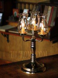 画像1: USAヴィンテージコロニアルガラスシェード付3灯ハリーケーンテーブルランプ/アンティークヴィクトリアン照明