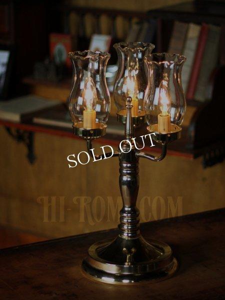 アンティークテーブルランプ|ハリケーンガラスチムニー3灯キャンドルライト卓上照明