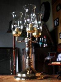 画像3: USAヴィンテージコロニアルガラスシェード付3灯ハリーケーンテーブルランプ/アンティークヴィクトリアン照明