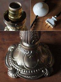 画像3: 卓上照明|ヴィンテージリボン&リース模様のフリルガラスシェード付テーブルライト