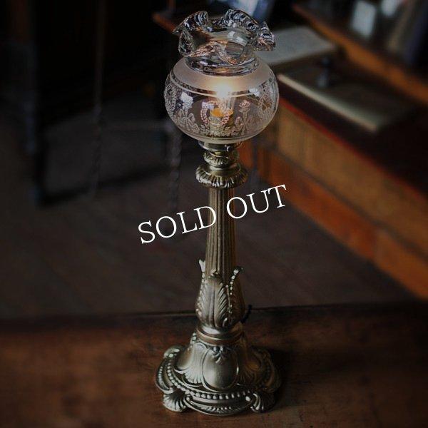 アンティークテーブルランプ|吹きガラスフリルガラスシェードヴィクトリアン卓上照明