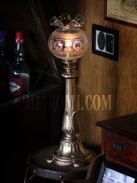 画像1: 卓上照明|ヴィンテージリボン&リース模様のフリルガラスシェード付テーブルライト