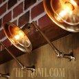 画像1: USAヴィンテージ工業系角度調整付き平型シェード真鍮ブラケットA/インダストリアル照明壁掛けランプ (1)