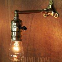 画像1: USAヴィンテージLEVITON社製ターン式ソケット付工業系真鍮ミニブラケットランプA/インダストリアル照明壁掛けライト