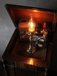 画像3: コロニアルヴィンテージガラスチムニー付真鍮製テーブルランプ/アンティーク卓上照明