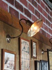 画像1: インダストリアル真鍮平皿シェードブラケットライト|工業系照明