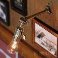 画像1: インダストリアル照明|角度調整付真鍮工業ミニブラケットライト (1)