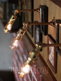 画像1: インダストリアル照明|角度調整付真鍮工業ミニブラケットライト
