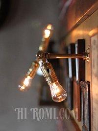 画像3: インダストリアル照明|角度調整付真鍮工業ミニブラケットライト