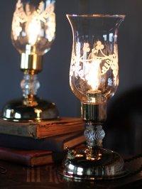 画像1: USAヴィンテージ葡萄模様ガラスチムニー付テーブルライトB