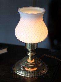 画像1: USAヴィンテージホブネイルのミルクガラスシェード付ミニテーブルライト
