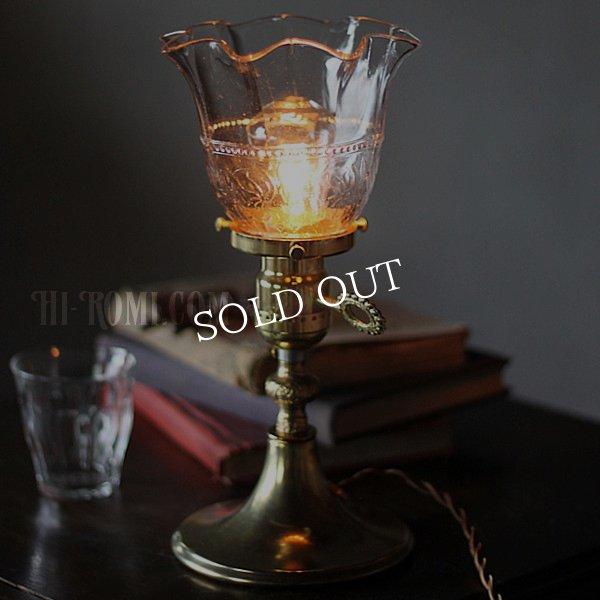 画像1: USAヴィンテージクリアガラスのフリルシェード付ミニテーブルライト (1)