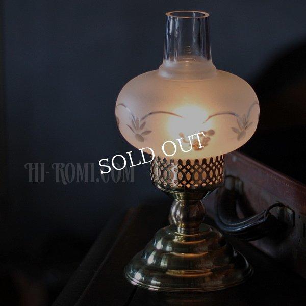 アンティークテーブルライト|フロストオニオンシェード真鍮製卓上照明