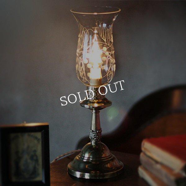 画像1: USAヴィンテージ卓上照明葡萄柄ガラスチムニーテーブルライト (1)