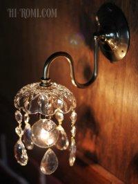 画像1: ヴィンテージガラス1灯ミニシャンデリアブラケットライト|照明