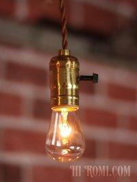 画像1: 【60cmコード】プラ製ターンスイッチ付LEVITON社真鍮ソケットペンダントライト