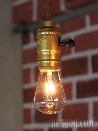 画像1: 【60cmコード】金色LEVITON社ターンスイッチ付アルミ製ソケットペンダントライト