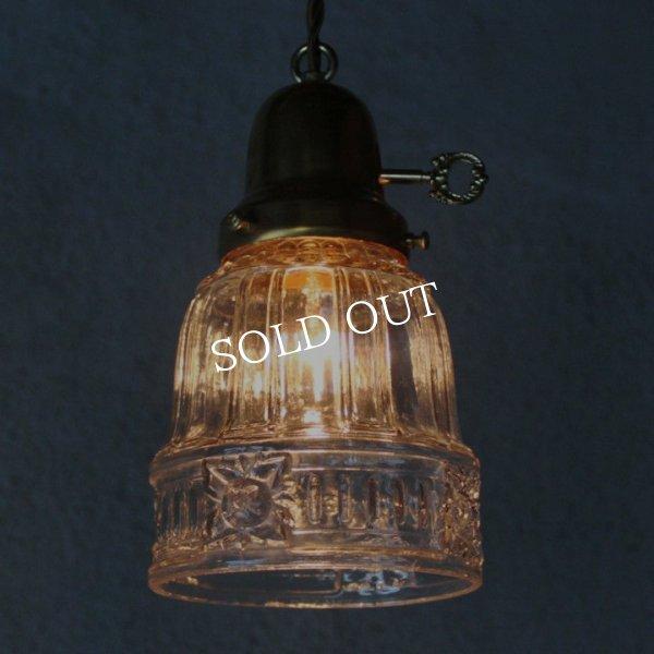 画像1: ヴィンテージペンダント照明|四角い花アンティーク吊下げランプ (1)