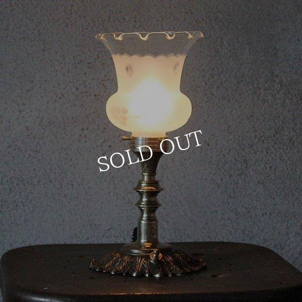 画像1: USAヴィンテージフリルチムニーテーブルライト|卓上照明アンティークランプ (1)