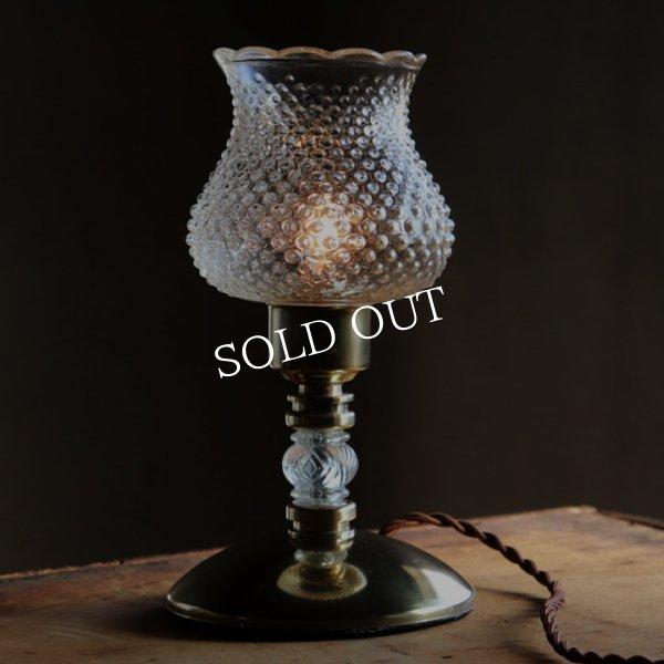 USAヴィンテージホブネイルチムニー付クリアガラステーブルライト|アンティーク卓上照明ランプ