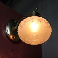 画像2: USAヴィンテージフロストガラス葡萄柄シェードのブラケットライト アンティークウォールランプ壁掛け照明