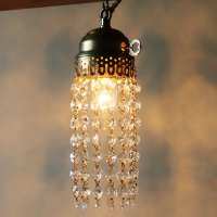 画像1: ヴィンテージミニシャンデリアオクタゴンプリズムペンダントライト|アンティーク鍵スイッチ吊下げ照明ランプ