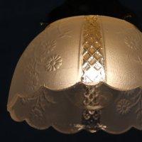 画像2: ヴィンテージ花柄フロストガラスシェードペンダントライト|アンティークガラス吊下げ照明ランプ