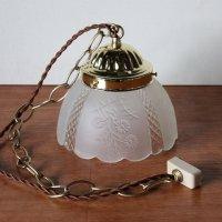 画像3: ヴィンテージ花柄フロストガラスシェードペンダントライト|アンティークガラス吊下げ照明ランプ