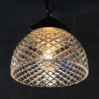 画像1: ヴィンテージダイヤ柄カットガラスシェードペンダントライト|アンティークガラス吊下げ照明ランプ
