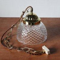 画像3: ヴィンテージダイヤ柄カットガラスシェードペンダントライト|アンティークガラス吊下げ照明ランプ